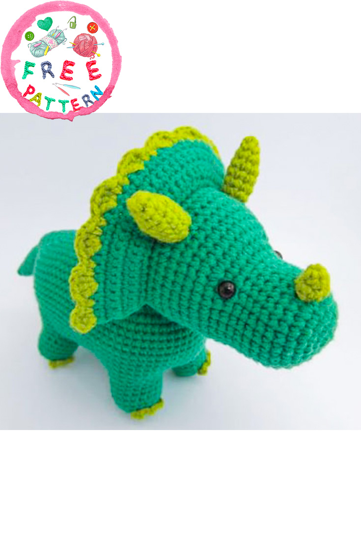 This amigurumi dinosaur is just so cute! Download the pattern ... | 1106x735