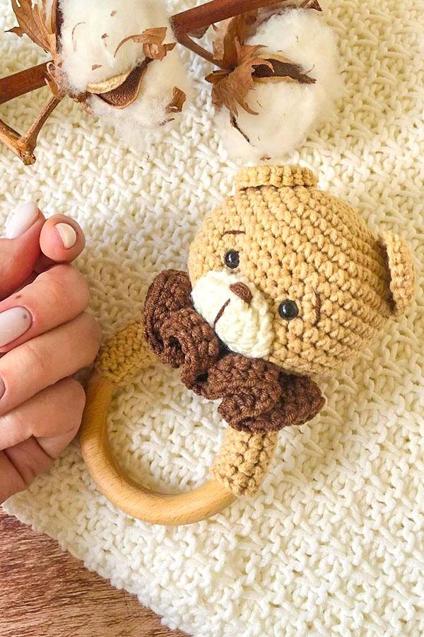 free Bear Baby Rattle pattern, baby rattle